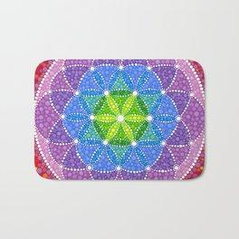 Rainbow Flower of Life Bath Mat