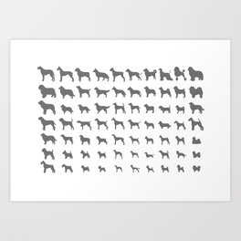 All Dogs (Grey/White) Art Print