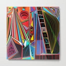 Vibrating In Shades, geometric design Metal Print