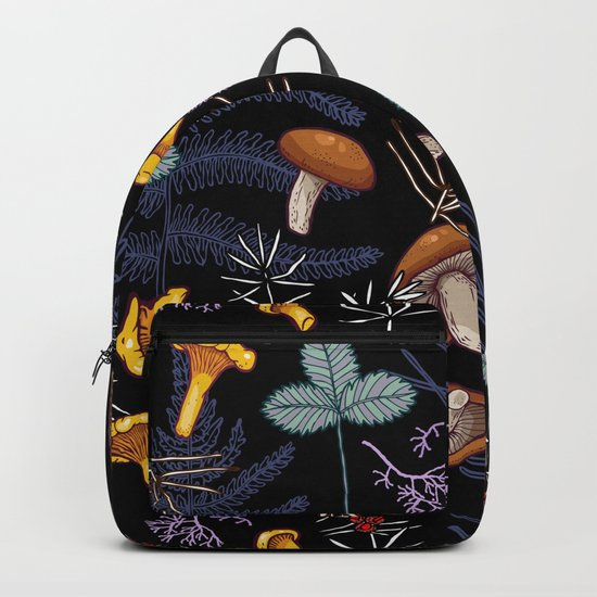dark wild forest mushrooms Backpack