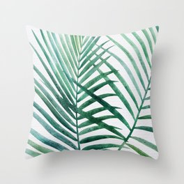 Emerald Palm Fronds Watercolor Throw Pillow