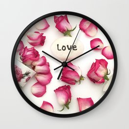 Shabby Chic Flowers Pink Roses Teacups Love Print Home Decor Wall Clock