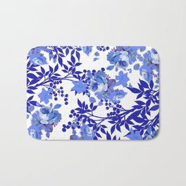 BLUE AND WHITE ROSE LEAF TOILE PATTERN Bath Mat