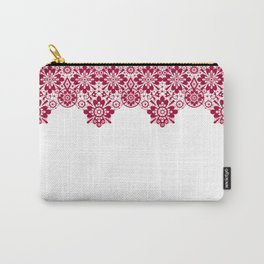 Retro .Vintage . Red lace on a white background . Carry-All Pouch