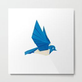 Origami Bluebird Metal Print
