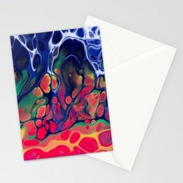 Abstract mixed media piece in blue, red, yellow, green Stationery Cards