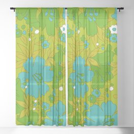 Green, Turquoise, and White Retro Flower Design Pattern Sheer Curtain