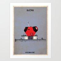 bjork Art Prints featuring Bjork by federico babina