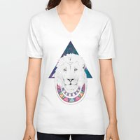 the lion king V-neck T-shirts featuring King Lion by Katell Desormeaux