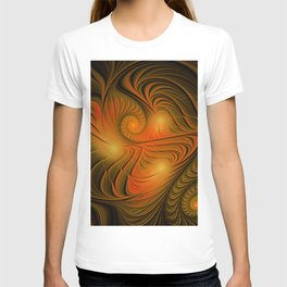 flames on black -725- T-shirt