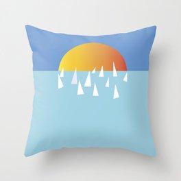 Sail school Throw Pillow