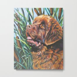 brown Newfoundland dog portrait art from an original painting by L.A.Shepard Metal Print