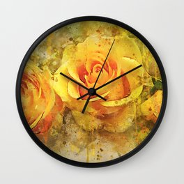 Watercolor Yellow Roses   High Quality On Stretched Canvas Wall Clock