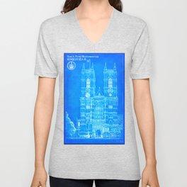 Westminster Abbey Architecture - Gothic Blueprints  Unisex V-Neck