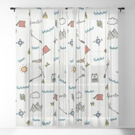 Adventure Pattern | Camping Pattern | Hiking Pattern | Hand Drawn Outdoors Pattern Sheer Curtain