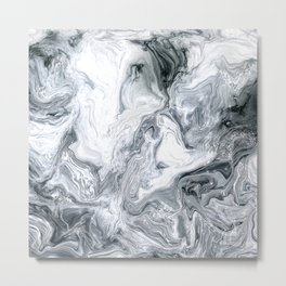 Exquisite Black, White, and Gray Exotic Swirl Marble Metal Print
