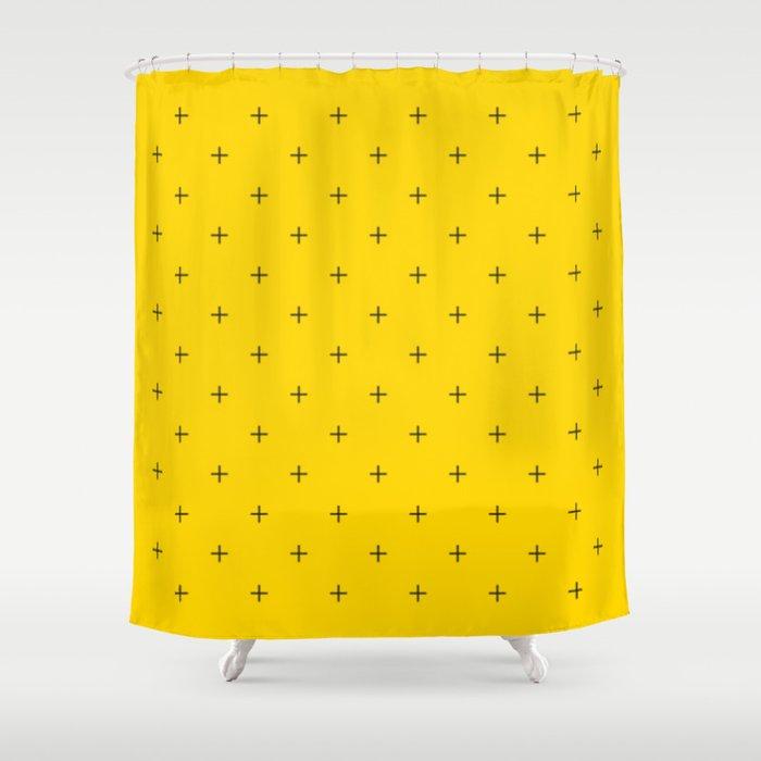 Crosses On Bright Mustard Yellow Shower Curtain