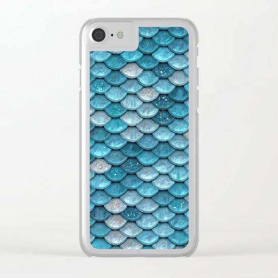 Luxury turquoise mermaid sparkling glitter scales Clear iPhone Case