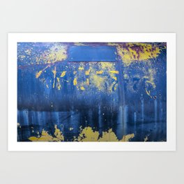 Blue and Yellow Rust Abstact Art Print