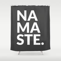 namaste Shower Curtains featuring namaste by Amanda Nicole
