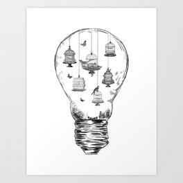 Aquarium Bulb Bird Houses Art Print
