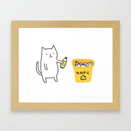 Cat recycles plastic Framed Art Print