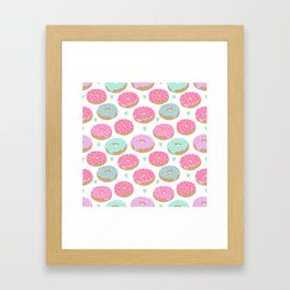 Donut hearts pastel colors love happy hipster foodie funny valentines day Framed Art Print