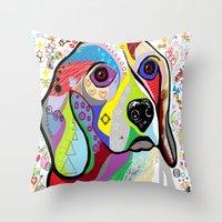 beagle Throw Pillows featuring BEAGLE by EloiseArt