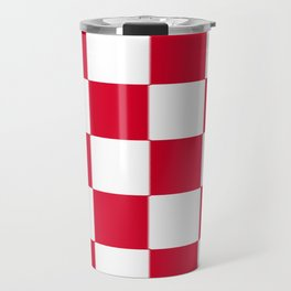 Red and white zig zag checkered artwork Travel Mug