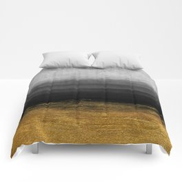 Black and Gold grunge stripes on modern grey concrete abstract background - Stripe -Striped Comforters