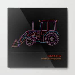 Grader Neon drawing Metal Print