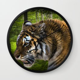 Tiger on the Prowl Wall Clock