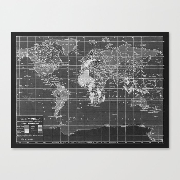 Black And White Vintage World Map Canvas Print