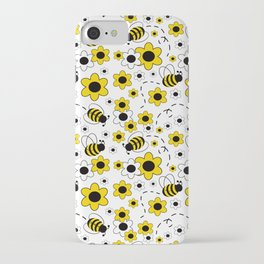 Honey Bumble Bee Yellow Floral Pattern iPhone Case