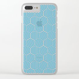 Hexagons Pattern on Light Blue Clear iPhone Case