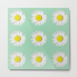 Retro Daisy · Mint Metal Print