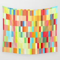 colorful rectangle grid Wall Tapestry