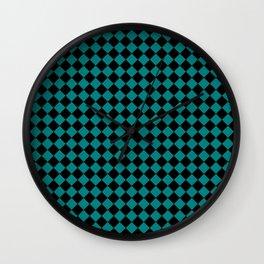 Black and Teal Green Diamonds Wall Clock