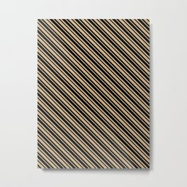 Tan Brown and Black Diagonal LTR Var Size Stripes Metal Print
