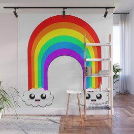 Happy Rainbow (Single On White) Wall Mural
