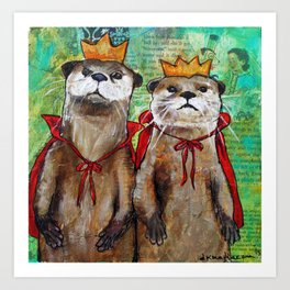 Royal Otters Art Print