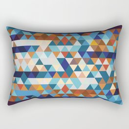 Geometric Triangle Blue, Brown  - Ethnic Inspired Pattern Rectangular Pillow
