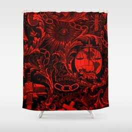 Red and Black IOOF  Woven Symbolism Tapestry Shower Curtain