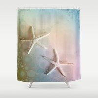 starfish Shower Curtains featuring Starfish by ALLY COXON