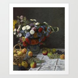 Still Life with Flowers and Fruit Art Print