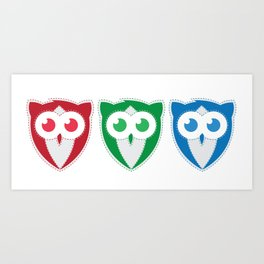 RGB Owls Art Print