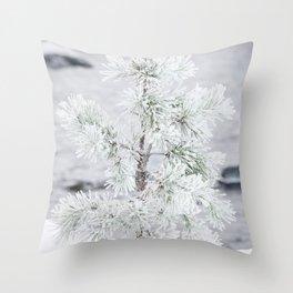 Snowy small tree Throw Pillow