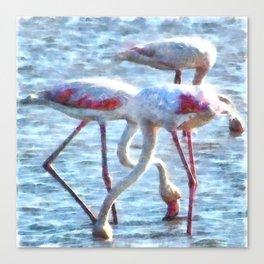 Flamingos Eating Watercolor Canvas Print