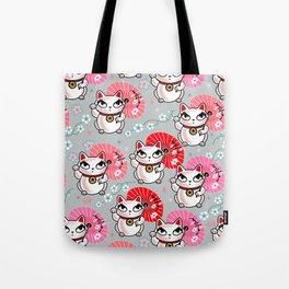 Kyoto Kitty on Grey Tote Bag