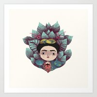 frida khalo Art Prints featuring frida by yohan sacre